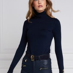 Holland Cooper Buttoned Knit Roll Neck - Ink Navy