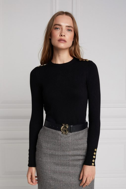 Holland Cooper Buttoned Knit Crew Neck - Black