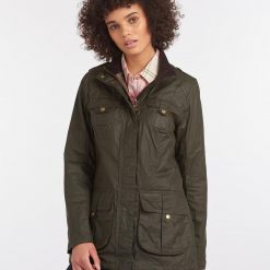 Barbour Lightweight Defence Waxed Cotton Jacket - Olive