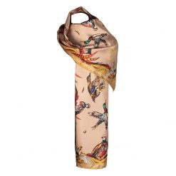 Clare Haggas Best in Show Classic Silk Scarf -Toffee & Gold