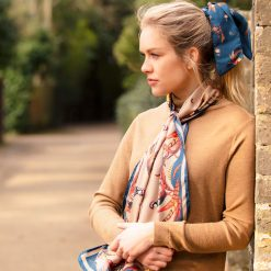 Clare Haggas Best in Show Classic Silk Scarf - Toffee & Navy