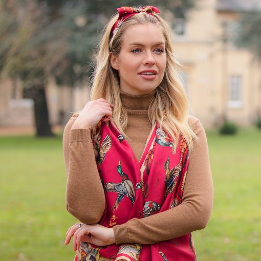 Clare Haggas Best in Show Classic Silk Scarf - Red & Gold