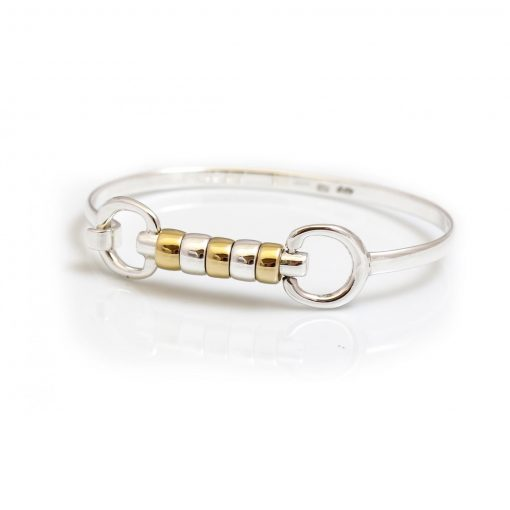 Hiho Exclusive Sterling Silver & 18ct Gold Plate Cherry Roller Snaffle Bangle (19cm)