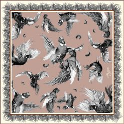 Clare Haggas Turf War Monochrome Large Silk Scarf - Blush Pink
