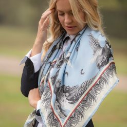 Clare Haggas Turf War Monochrome Large Silk Scarf - Pale Blue
