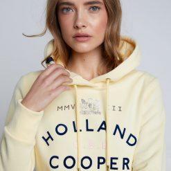 Holland Cooper GBE Flock Logo Hoodie - Lemon
