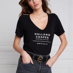 Holland Cooper Serif Vee Tee - Black