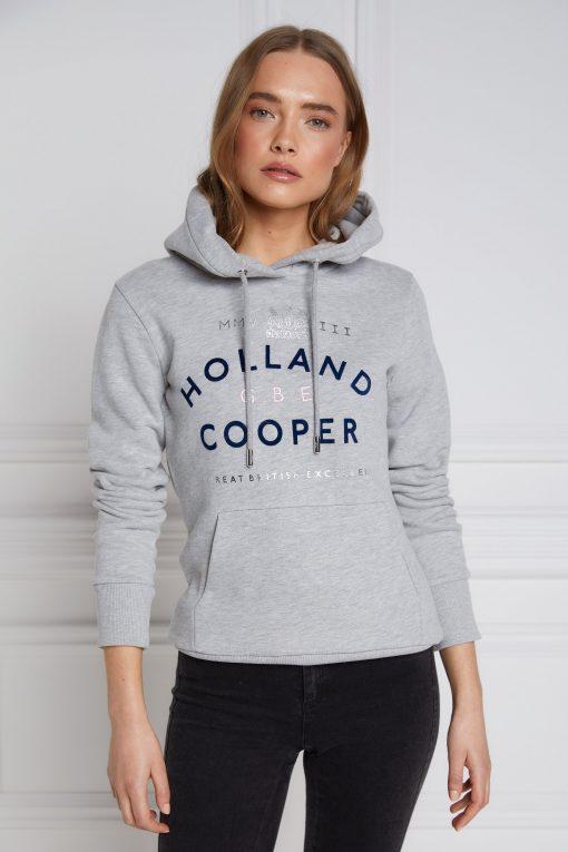 Holland Cooper GBE Flock Logo Hoodie - Mid Grey