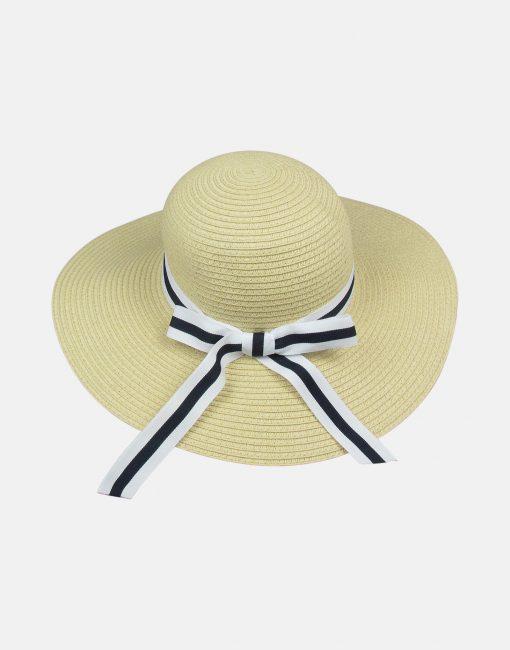 Little Lord & Lady Kitty Straw Sunhat - Navy Stripe Ribbon