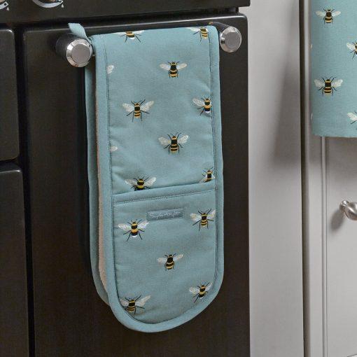 Sophie Allport Double Oven Glove - Bees (Teal)