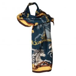 Clare Haggas Hold Your Horses Classic Silk Scarf - Navy & Gold