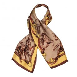 Clare Haggas Hold Your Horses Narrow Silk Scarf - Toffee & Caramel