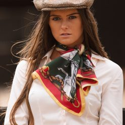 Clare Haggas Hold Your Horses Narrow Silk Scarf - Royal Red / Green