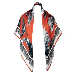 Clare Haggas Turf War Monochrome Large Silk Scarf - Russet
