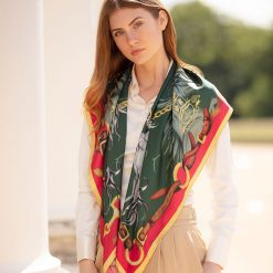 Clare Haggas Hold Your Horses Large Silk Scarf - Royal Red / Green