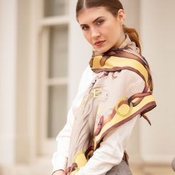 Clare Haggas Hold Your Horses Large Silk Scarf - Toffee & Caramel