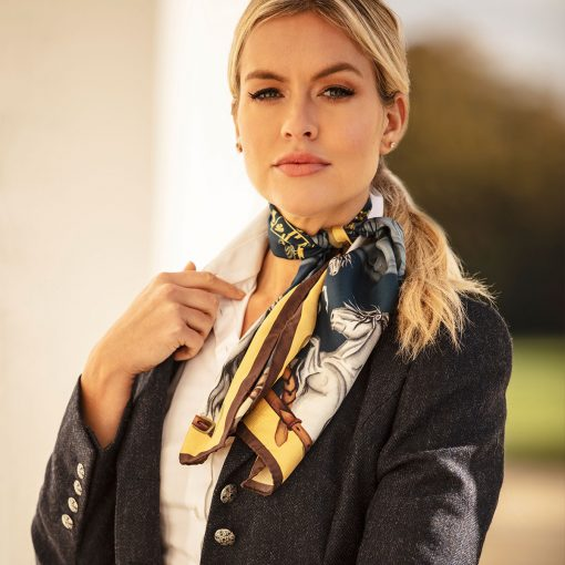Clare Haggas Hold Your Horses Narrow Silk Scarf - Navy & Gold