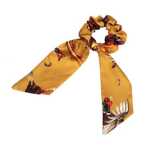 Clare Haggas Game Bird Silk Hair Scrunchie - Gold (Medium)