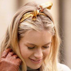 Clare Haggas Game Bird Silk Hair Headband - Gold