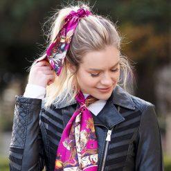Clare Haggas Game Bird Silk Hair Scrunchie - Magenta (Medium)