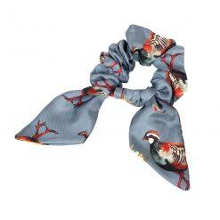 Clare Haggas Game Bird Silk Hair Scrunchie - Pigeon (Medium)