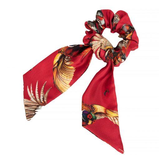 Clare Haggas Game Bird Silk Hair Scrunchie - Red (Medium)