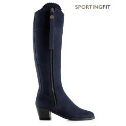 Fairfax & Favor The Heeled Regina Suede Boot Sporting Fit - Navy
