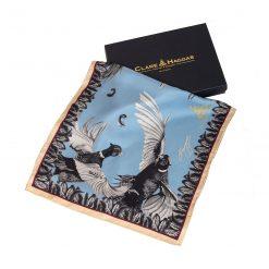 Clare Haggas Turf War Monochrome Classic Silk Scarf - Pale Blue