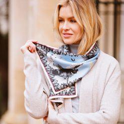 Clare Haggas Turf War Monochrome Narrow Silk Scarf - Pale Blue