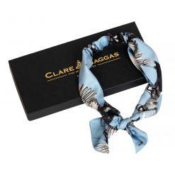 Clare Haggas Turf War Monochrome Silk Hair Headband - Pale Blue