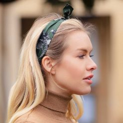 Clare Haggas Turf War Monochrome Silk Hair Headband - Khaki