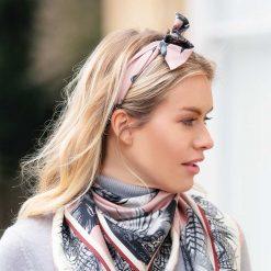 Clare Haggas Turf War Monochrome Silk Hair Headband - Blush Pink