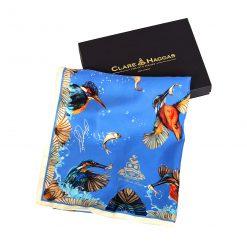 Clare Haggas We Three Kings Classic Silk Scarf - Blue