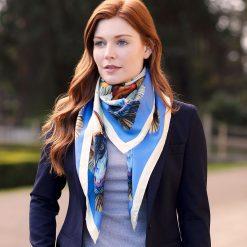 Clare Haggas We Three Kings Large Silk Scarf - Blue