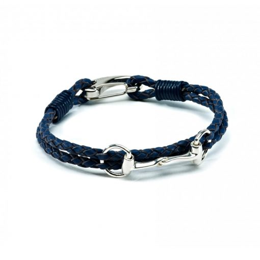 Hiho Sterling Silver Snaffle Leather Bracelet - Blue