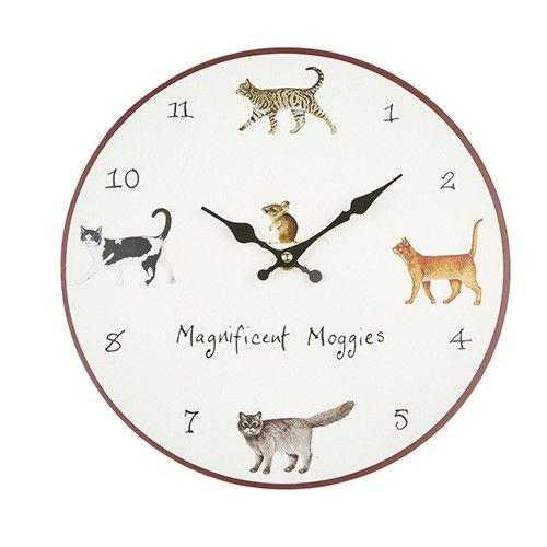At Home In The Country Wall Clock - Magnificent Moggies