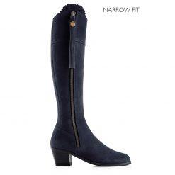 The Heeled Regina Suede Boot Narrow Fit - Navy