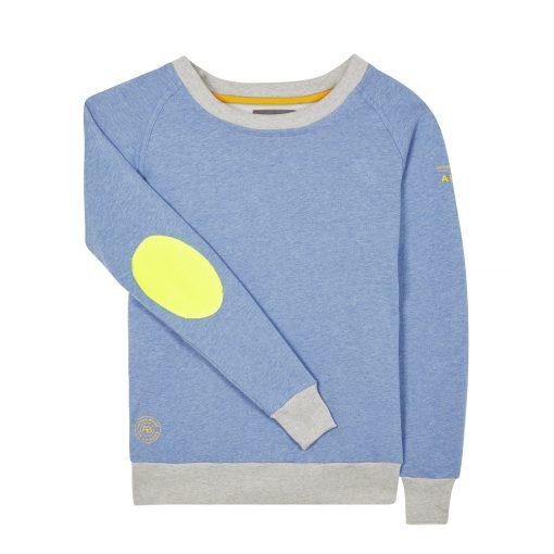 AWOL Sweatshirt - Baby Blue with Grey Rib & Neon Yellow