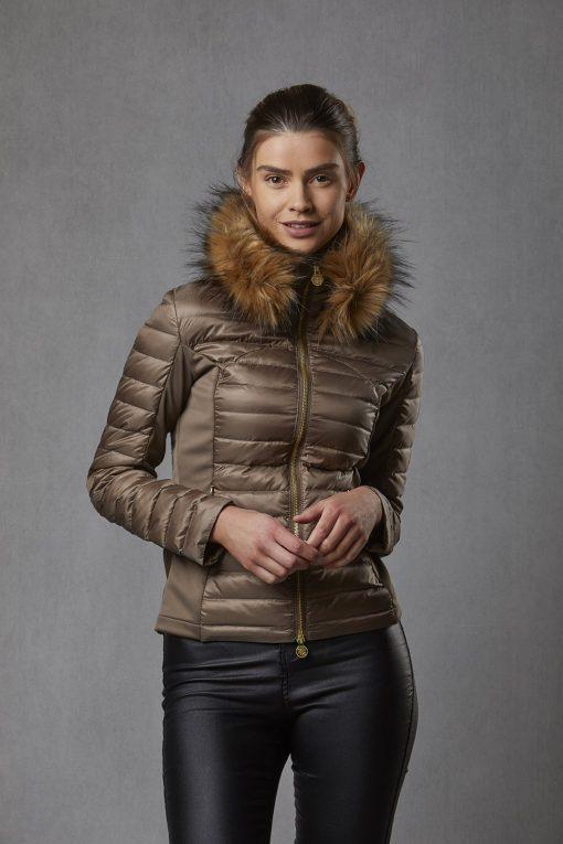 Puffer Jacket Luxe Faux Fur Collar - Bronze