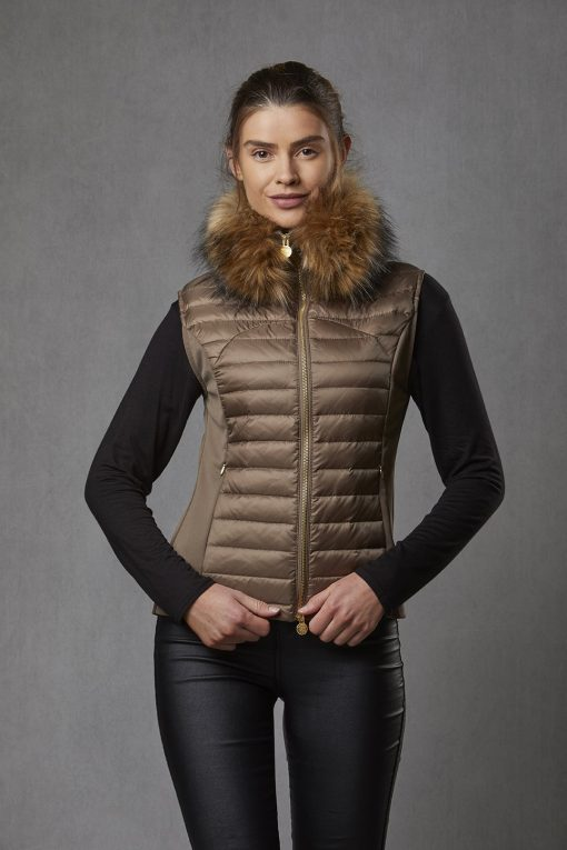 Puffer Gilet Luxe Faux Fur Collar - Bronze