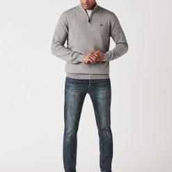 Classic Half Zip Knit Jumper - Grey