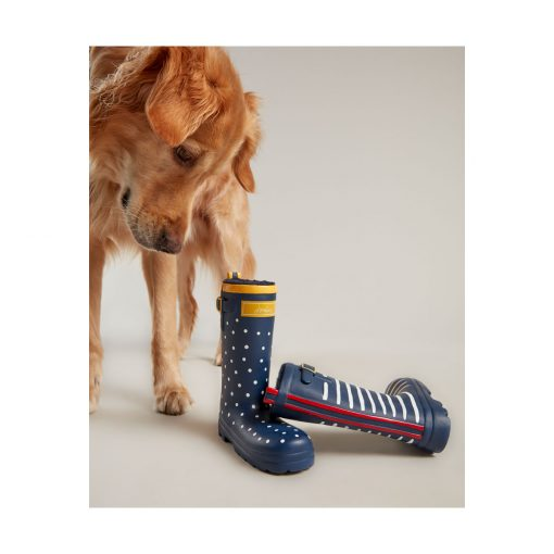 Rubber Welly Dog Toy - Navy Spots