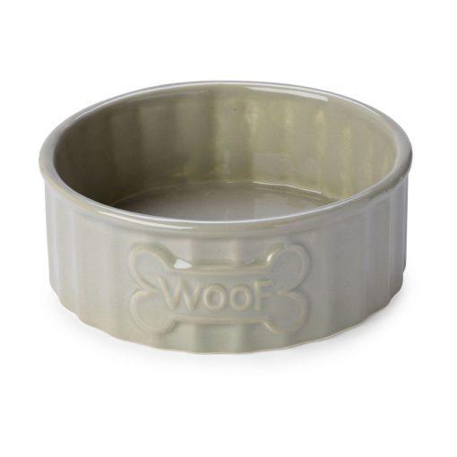 Woof Bone Dog Bowl - Mink