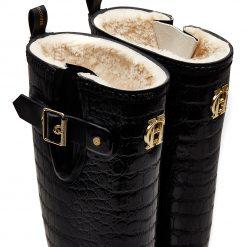 Sherpa Lined Regency Wellington - Black Croc