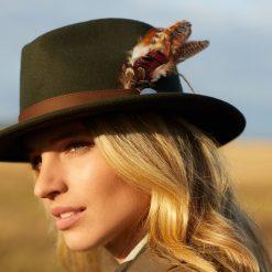 Suffolk Fedora Gamebird Feather - Olive