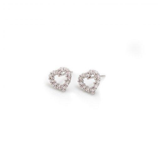 Sterling Silver & CZ Heart Stud Earrings