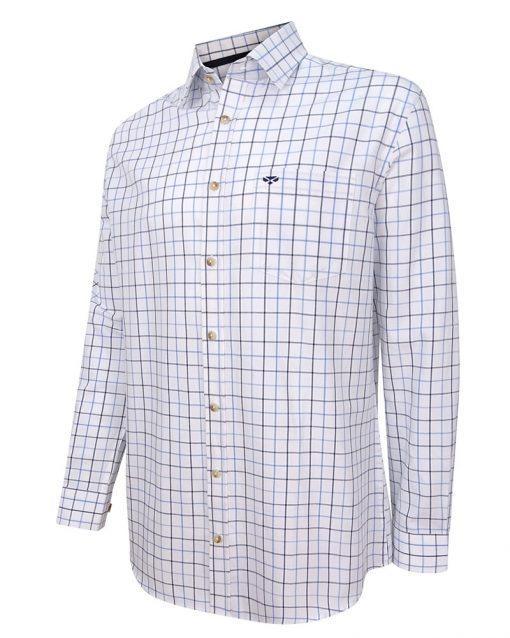 Viscount Premier Tattersall Shirt - White & Navy Check