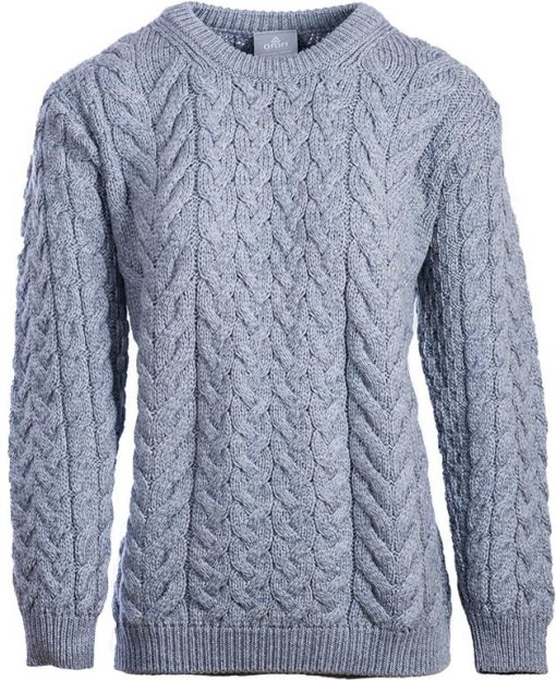 Supersoft Merino Wool Cable Crew Neck Sweater - Grey